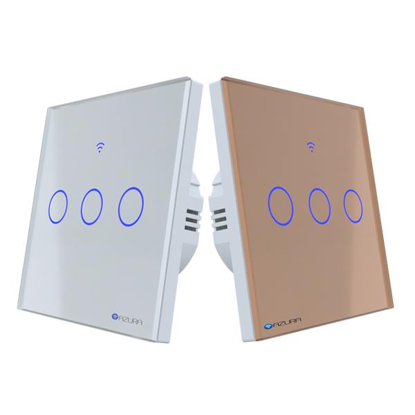 công tắc đèn thông minh 3 kênh hình vuông azura AUS-SQ03